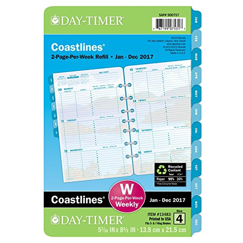Day-Timer Weekly Planner Refill 2017, 2 Page Per Week, Loose Leaf, 5-1/2 x 8-1/2', Desk Size, Coastlines (13483)