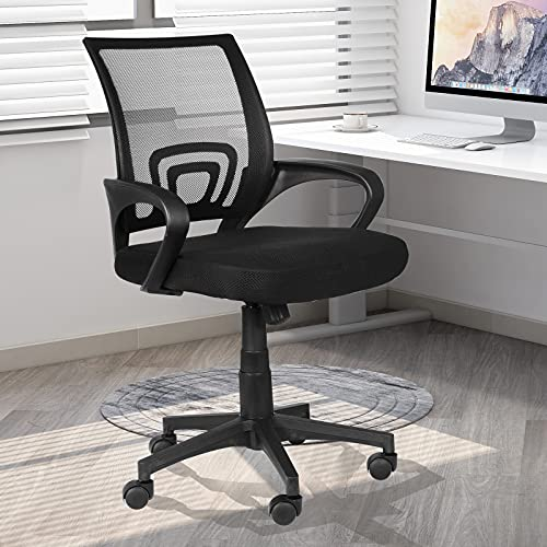 Desk Chair - Ergonomic Home Office Chair with Lumbar Support & Adjustable Height, Swivel Office Computer Chair Mid-Back Mesh Task Chair(Black)