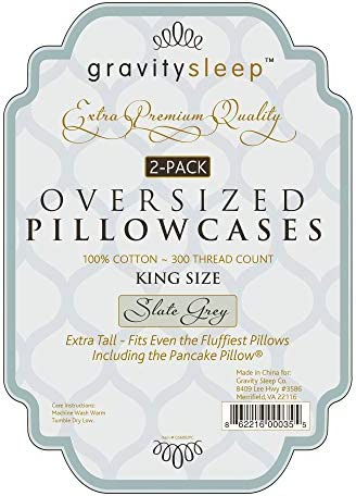 oversize pillow case by gravity sleep extra large extra tall extra wide pillowcase 100 cotton 300 thread count 2 pack queen 23wx34l beige