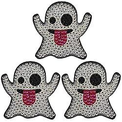 Ghost Emoji 3-Pack Crystal Rhinestone Sticker