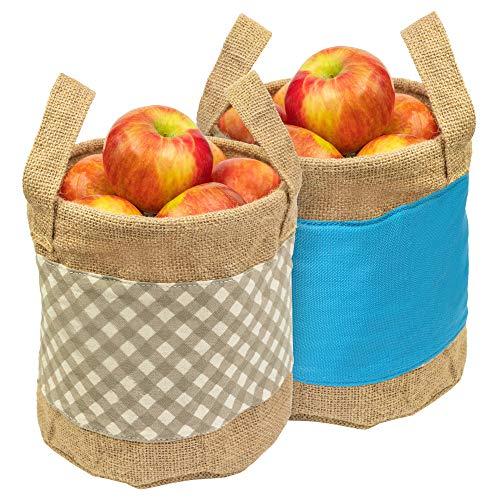 EXULTIMATE Reusable Grocery Produce Bags Jute Baskets Pantry Burlap...