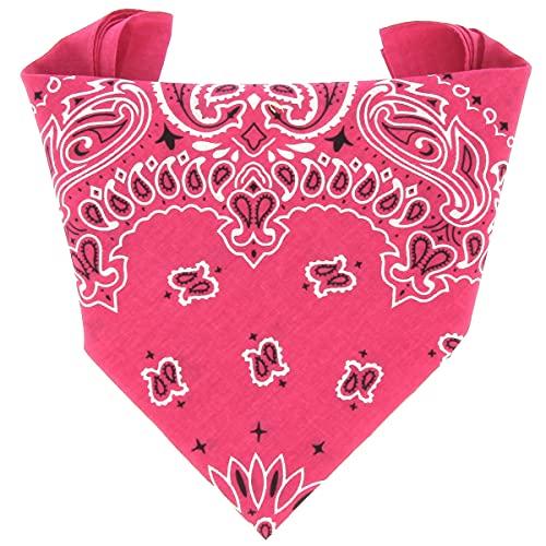 ...KARL LOVEN Bandana Hombre 100% algodón Paisley Rosa Fushias Pañuelo para el cuello cabeza bufanda para mujer niño muñeca Pulsera motociclista Deportiva