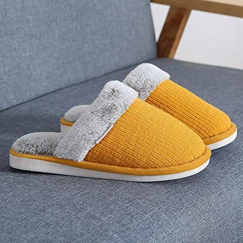 Otoño Invierno Zapatillas Interior Casa,Deslizadores del algodón de la Felpa de los Pares del hogar del Invierno, Zapatos Interiores Antideslizantes del Mes del Calor de Suela Gruesa-Amarillo_34-35EU