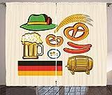 N\A Tende tedesche, Simboli dell'Oktoberfest, Salsiccia di Grano, Birra e salatini, Disposizione Bavarese Colorata, Tenda per Camera da Letto, Sala da Pranzo, Soggiorno, 2 Pannelli, Set Multicolore