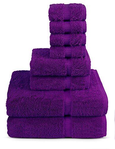 TURKUOISE TURKISH TOWEL 8 Piece Turkish Luxury Turkish Cotton Towel Set - Eco Friendly, 2 Bath Towels, 2 Hand Towels, 4 Wash Clothes (Eggplant)