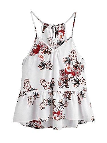 ROMWE Damen Sommer Trägertop mit Blumen Muster Aufdruck V-Ausschnitt Vest Tank Top Shirt Rot M