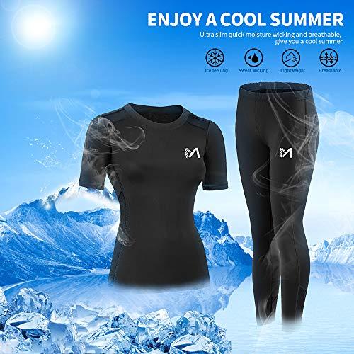 MEETYOO Kompressionsshirt Damen, Sport Leggings Kompressionshose Lang Running Tights Atmungsaktiv Kurzarm T-Shirt für Laufen Radfahren Yoga Gym - 6