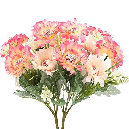 NAHUAA 2 Pcs Künstliche Blumen Deko 7 Blumenköpfe Kunstblumen Gerbera Unechte Plastik Blumen Seidenblumen Seidenblumen für Balkon Garten Büro Terrarium Vase Hochzeit Tischdeko Dekoration