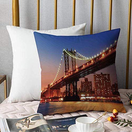 Creativo copricuscino,New York, Manhattan Bridge con luci notturne sul Fiume Hudson Brooklyn Immagine Popolare della Città, Blu,Stampate Federe Cuscino Divano Decorazione Cuscino Copertina -45 x45cm