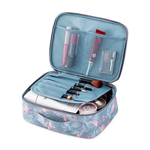 FORRICA Trousse per Trucchi da Viaggio Donna Pochette per Trucco Portatile Pieghevole Cosmetici Borsa Ragazza Beauty Case per Cosmetico e Pennelli Fenicottero Grigio