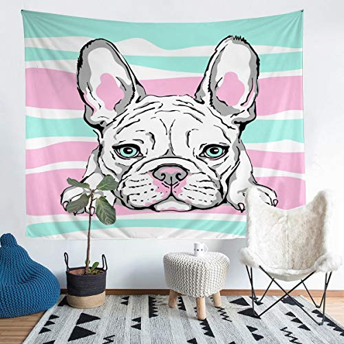 Dog Printed Tapestry Cute Pug Dog Wall Blanket for Kids Girls Children Cartoon Animal Theme Wall Hanging Chic Pink Teal Stripe Design Wall Art Room Decor Large 58x79