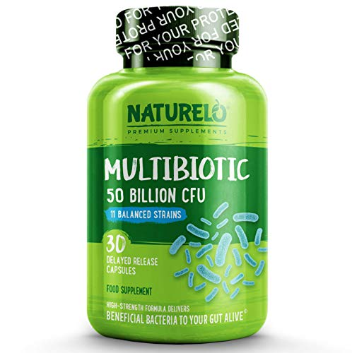 NATURELO Probiotic Supplement - 50 Billion CFU - 11 Strains - One Daily - Best for Digestive Health, Immune Support - Ultra Strength Probiotics - No Refrigeration Needed - 30 Vegan Capsules