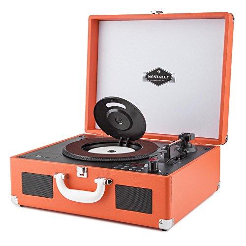 auna Peggy Sue CD - Tocadiscos Retro , Fonocaptor , Reproductor de CD , USB , SD , Altavoces estéreo Integrados , Salida RCA , Digitalizador LP , Diseño Vintage , Maleta de Cuero sintético , Naranja