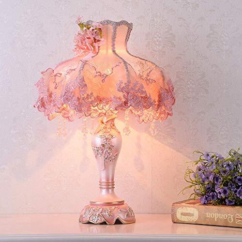 Diseño Personalizado American Pattern Jardín translúcido rosa de encaje bordado de tela de material con una resina de flores de plata cortina de lámpara de la lámpara de iluminación Cuerpo de noche Lá