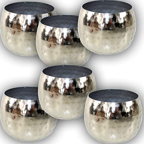 EDLES MAROKKANISCHES WINDLICHT Set Silber - 6 STÜCK in Hammerschlag Optik Orient Schalen Kerzen ~VDs A