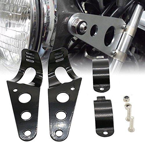 Frenshion Compatible for 35-43mm Motorcycle Headlight Lamp Mount Fork Bracket Black Universal for Chopper Bobber Street Bike Cafe Racer