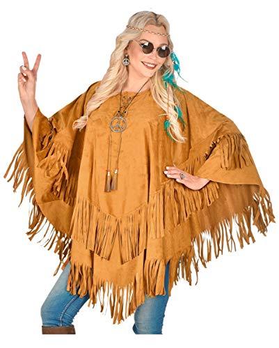 Horror-Shop Brauner Hippie Poncho mit Fransen in Wildleder Optik