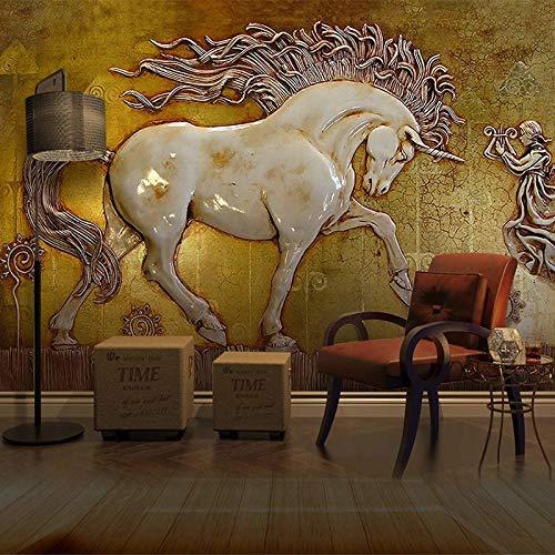 Aangepaste elke grootte abstract 3D stereoscopisch reliëf paard kunst muurschildering voor woonkamer werkkamer slaapkamer wandafbeeldingen wallpaper