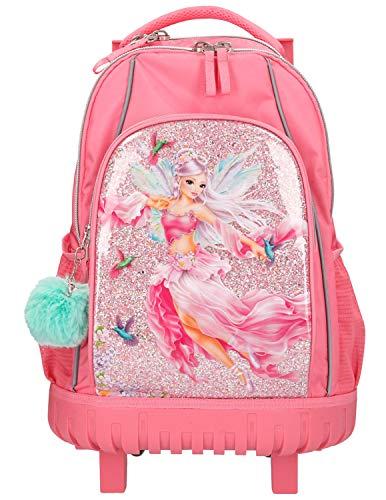 Depesche 11184 Schulrucksack Trolley für Mädchen im FANTASYModel Fairy Design in pink, ca. 51 x 34 x 24 cm groß, 28 Liter und 2 kg leicht, mit zwei Rollen und Teleskopgriff