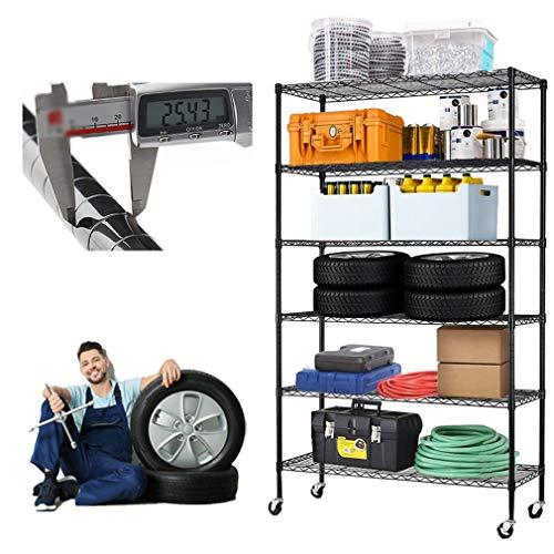 Metal Shelf 6 Tier Wire Shelving Unit with Wheels,Heavy Duty Storage Shelves, NSF Garage Kitchen Organizer,Wire Rack Height Adjustable Utility Commercial Grade Rolling Steel Rack,48' x 18' x 82',Black