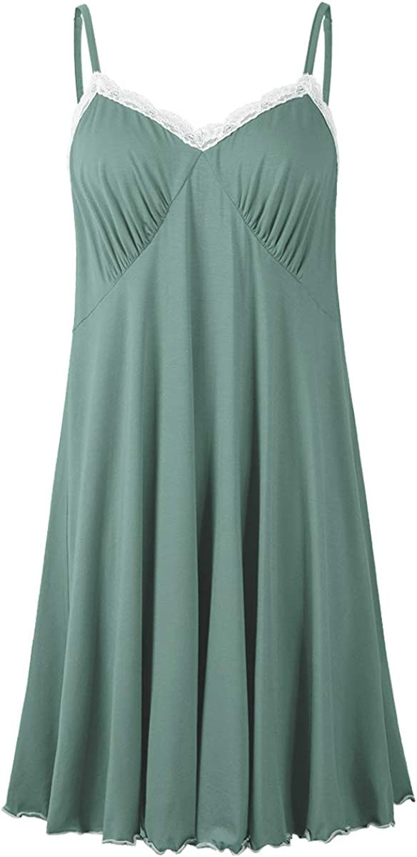 Jollielovin Sexy Sleepwear For Women Nightgowns Chemise Plus Size Summer V Neck Lace Nightshirt With Adjustable Strap