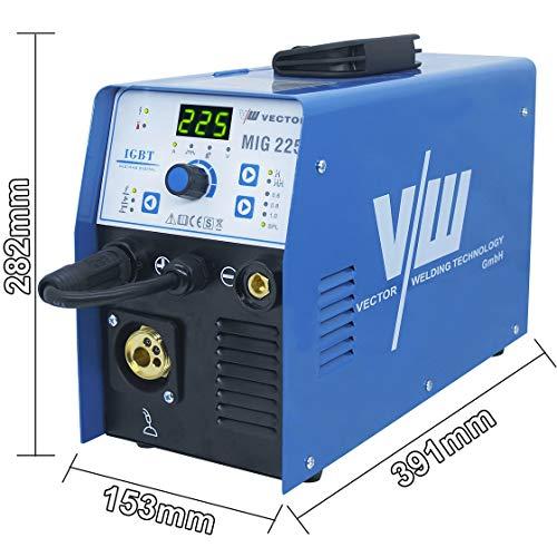 Vector Schutzgas Schweißgerät MIG 225 Elektroden Fülldraht Schweißgerät mit 225 Ampere Kombi Drahtschweissgerät MIG MAG WIG MMA E-HAND, Stahl/Edelstahl Schweißen IGBT Welder 5KG 230V