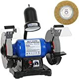 BILT HARD 5-Amp 8-Inch Bench Grinder, Variable Speed Bench Grinder with Light and Wire Wheel - CSA Listed