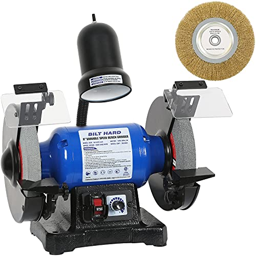 BILT HARD Bench Grinder 8-Inch Variable Speed Bench Grinder with Light and Wire Wheel