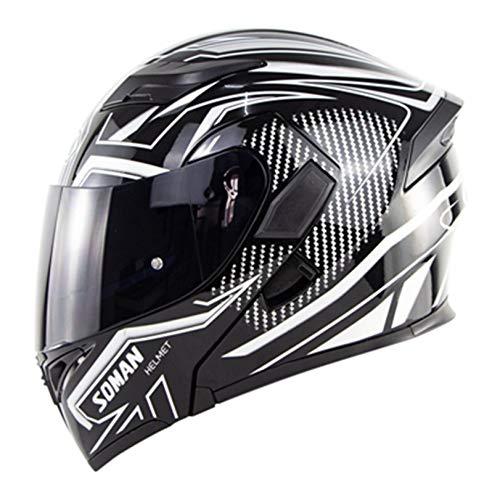Men Double Lens MotorcycleHelmet Anti Fog Flip Up Highway Helmet Abs Motorbike...