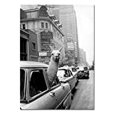 AdoDecor Vintage Lama Poster Schwarz Weiß Alpaka im Taxi
