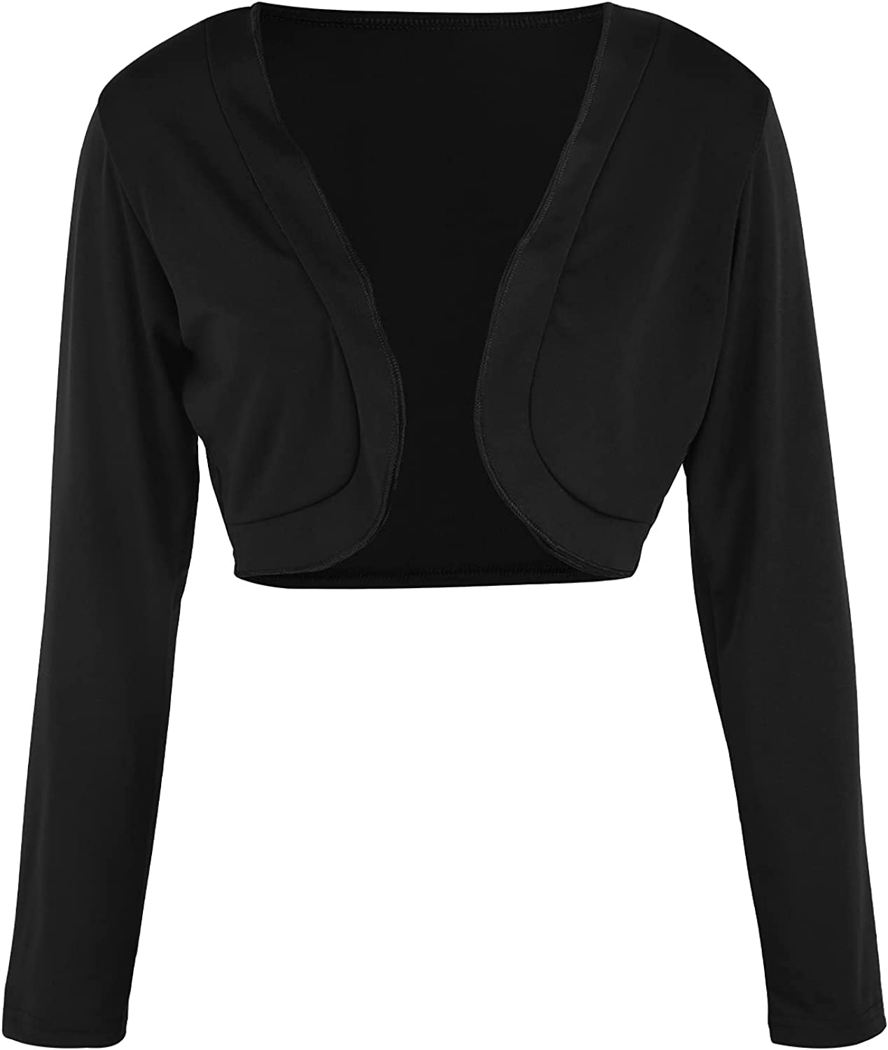 Women's Long Sleeve Shrug Open Front Cropped Cardigan Sweater Solid Color Vintage Shrug Bolero Cape for Dresses
