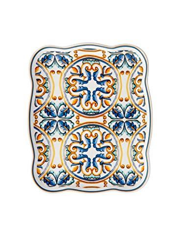 Brandani Medicea 53897 Tablett, rechteckig, Porzellan, mehrfarbig, 19 x 15 cm