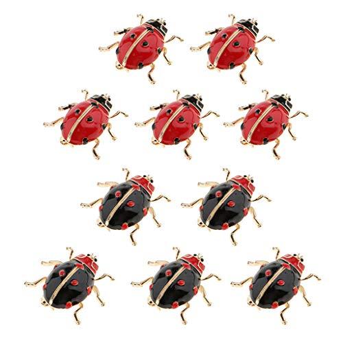 10 Piezas Broche Pin Esmalte Mariquita Bug Insecto para Mujer Joyería de Moda