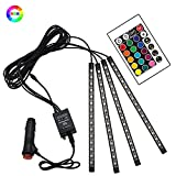ZHT Led Car Interior Lights Waterproof 4x15 LED DC 12V 16 RGB Music LED Strip Light for Car with Wireless Remote Control and Smart USB Port (Cigarette lighter)