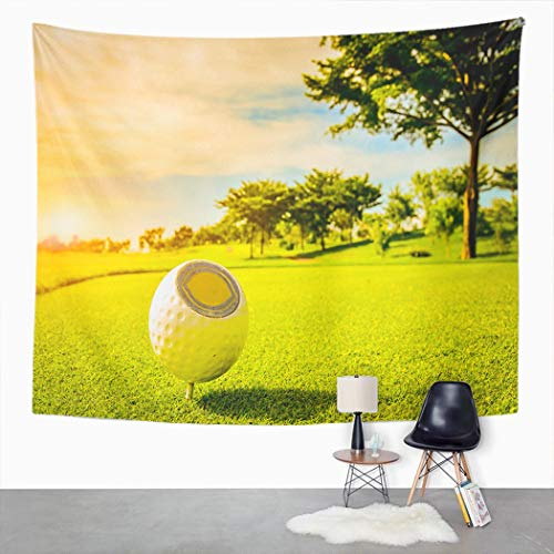 Y·JIANG Tapiz de golf, suelo para principios de golfista aficionado, se pone en hierba verde, tapiz decorativo grande, manta para colgar en la pared ancha para sala de estar, dormitorio, 203 x 152 cm