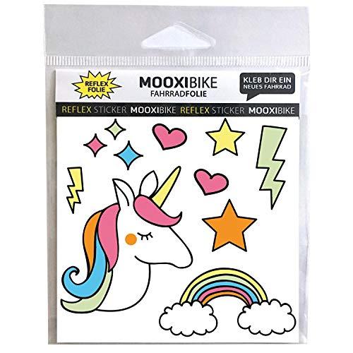 MOOXIBIKE Reflektierender Sticker Unicorn Fahrradaufkleber zur Dekoration von Fahrrad, Helm, Scooter oder Roller und Erhöhung der Sichtbarkeit im Straßenverkehr