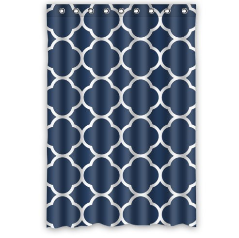FMSHPON Classic Navy Blue Quatrefoil Waterproof Polyester Fabric Bathroom Shower Curtain 48 X 72 Inches
