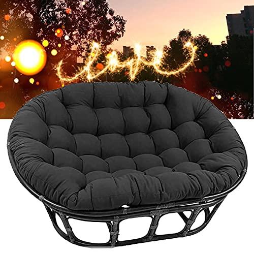 TDHLW Papasan - Funda de cojín para silla, cojín de suelo al aire libre, doble relleno para silla Papasan, impermeable al aire libre, con lazos para interiores y exteriores, color negro, 170 x 120 cm