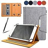 "「Doo」新しい タブレットケース 10インチラップトップケース (iPad Air 10.5/9.7インチ iPad/10""Microsoft Surface Go/10.1"" HP ElitePad 1000 G2 Tablet/10"" ACER Iconia One Tablet/MediaPad M3 Lite 10 wp/MediaPad T5 /9.7"" SAMSUNG Galaxy Tab A Tablet/10.1"" Lenovo Tab 2 A10 Tabletなど )上質なPUレザーを採用 薄くて軽い マグネット式 カード ポケット スタンド機能 付 らかな肌触り、耐久性は優れて 衝撃吸収 防衝撃デザイン 全面保護 10.0インチ 通用保護ケース 両用タッチペン付き(グレー)"