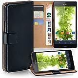 MoEx Premium Book-Hülle Handytasche passend für Sony Xperia Z3 | Handyhülle mit Kartenfach & Ständer - 360 Grad Schutz Handy Tasche, Schwarz