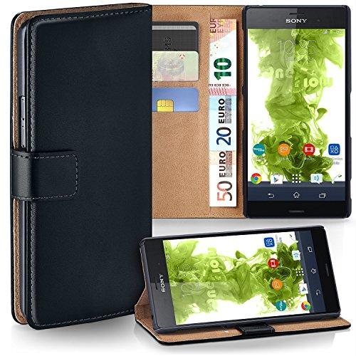 MoEx Premium Book-Case Handytasche passend für Sony Xperia Z3 | Handyhülle mit Kartenfach und Ständer - 360 Grad Schutz Handy Tasche, Schwarz