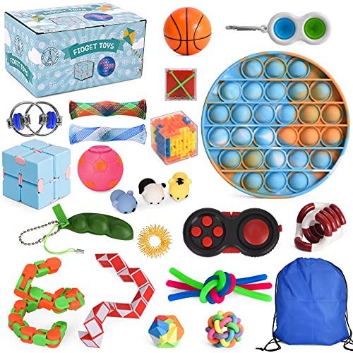 THE FRENCH WAY  Lot de 24 Fidget Toys – Jouets Antistress pour Enfants et Adultes – Pack Objets Satisfaisants pour Lutter Contre Le Stress & Booster la Concentration – Sac de Transport Offert