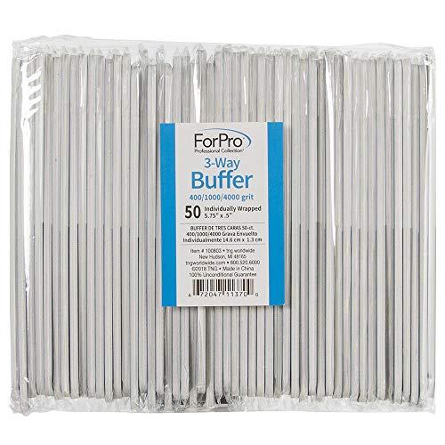 ForPro 3-Way Buffer, Black 400/White 1000/Grey 4000 Grit, Three-Sided Manicure & Pedicure Nail Buffer, 5.75