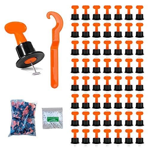 Sistema de nivelación de baldosas, 100 piezas nivelador de baldosas, herramientas de construcción de pared de cerámica kit reutilizable, contiene llaves especiales y espaciadores de azulejos (50)