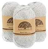 (Set of 3) Alpaca Yarn Blend UMAYO Fingering #2 (5.29 Ounces/150 Grams Total) Lovely and Soft to Enjoy Knitting - Crocheting - Weaving (Light Grey)