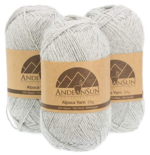 (Set of 3) Alpaca Yarn Blend UMAYO Fingering #2 (5.29 Ounces/150 Grams Total) Lovely and Soft to Enjoy Knitting - Crocheting - Weaving (Light Grey)