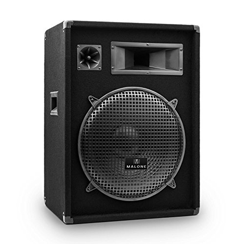 Malone Fullrange PA Box - passiver 3-Wege Lautsprecher, Fullrange PA Box, Horn-Mitteltöner, Piezo-Hochtöner, Holzgehäuse, Tragegriffe, 1 x 38 cm (15