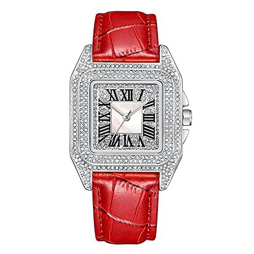 TREWQ Reloj AnalóGico para Mujer De Cuarzo con Correa En Cuero, Reloj De Cuarzo Cuadrado De Moda Retro con Diamantes Completos, Regalo para Damas,Crystal Silver Red