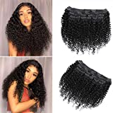 Rolisy Deep Curly Clip in Hair Extensions Deep Wave Hair Clip Ins for Black Women Thick Soft 8A Brazilian Remy Hair,16 Inch, Black Color,10/Pcs with 24 Clips,120 Gram