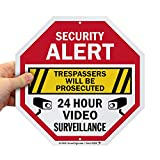 SmartSign Security Alert Sign - Trespassers Will Be Prosecuted, Video Surveillance 24 Hour Sign   10x10 Octagon Metal, Reflective Aluminum, Outdoor/Wall/Fence